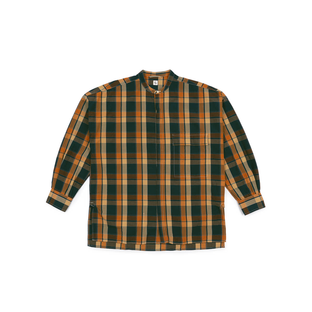 Fly Front Band Collar Shirt
